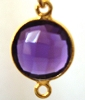 17mm x 11mm amethyst hydro gold plated silver faceted gem stone bezel connector 1pc 2 loops