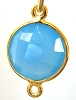 17mm x11mm  Blue Chalcedony gold plated silver faceted gem stone bezel connector 1pc 2 loops