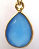 16mm x 10mm Blue Chalcedony Teardrop gold plated silver gold faceted gem stone bezel charm drop dangle 1pc