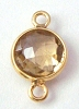 15mm x 9mm (8mm round) Natural citrine gold plated silver faceted gem stone bezel charm drop dangle connector 1pc