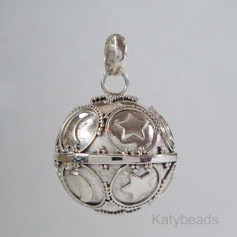 21mm moon and star bali sterling silver harmony ball pendant hm73 aloadofball Gallery