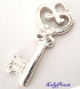 26mm x 11mm Solid bright 925 sterling Silver Key Charm D61