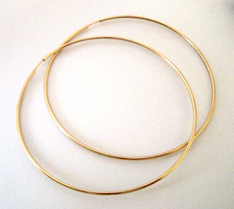 65mm 14k Gold Filled round Endless hoop earring ear wire GE38