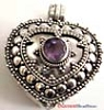 Heart Shape with Round Amethyst  locket  Pendant 24mm x 28mm PL5