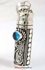 34mm x 10mm Sterling Silver Prayer Box Pendant with Blue Zircon PR4