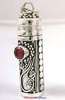 34mm Sterling Silver Prayer Box Pendant with ruby PR4