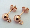 4mm Rose Gold Filled Earring post round ball w/loop (3 pairs) RE08