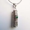 34mm x 10mm Sterling Silver Prayer Box Pendant with Green Quartz PR4