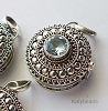 21mm Sterling Silver Poison Locket Keepsake Pendant with Faceted Blue Topaz PL10