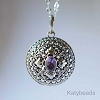 21mm Sterling Silver Poison Locket Keepsake Pendant with Faceted Purple Amethyst PL11