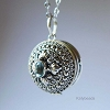 21mm Sterling Silver Poison Locket Keepsake Pendant with Faceted Blue Topaz PL11