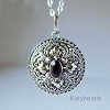21mm Sterling Silver Poison Locket Keepsake Pendant with Faceted Red Garnet PL11