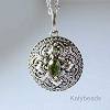 21mm Sterling Silver Poison Locket Keepsake Pendant with Faceted Green Peridot PL11