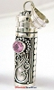 34mm Sterling Silver Prayer Box Pendant with Pink Quartz PR4 (