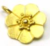 12mm gold plated silver Flower Charm Pendant VD09