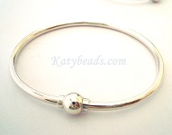 "7"" Cape Cod Sterling silver Bangle Charm Cuff FLEX Bracelet 3mm w/6mm Screw ball BB5"