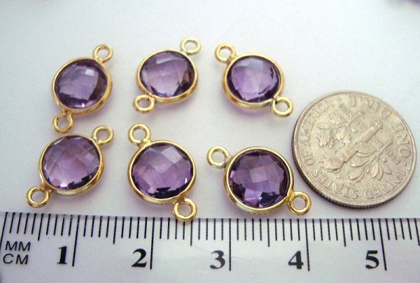 15mm x 9mm (8mm stone) Natural  amethyst gold plated silver faceted gem stone bezel connector 1pc 2 loops