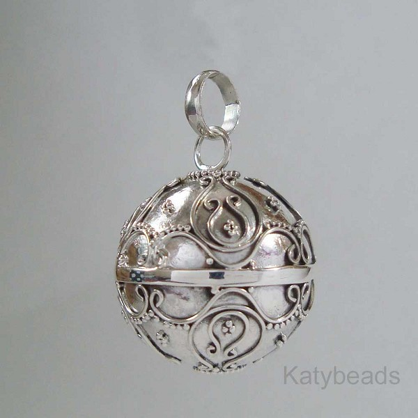 21mm Bali Sterling Silver Harmony Ball Pendant Hm72