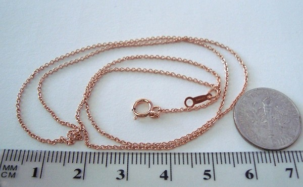 "1mm 18"" 14k Rose Gold Filled Cable delicate heavy chain necklace"