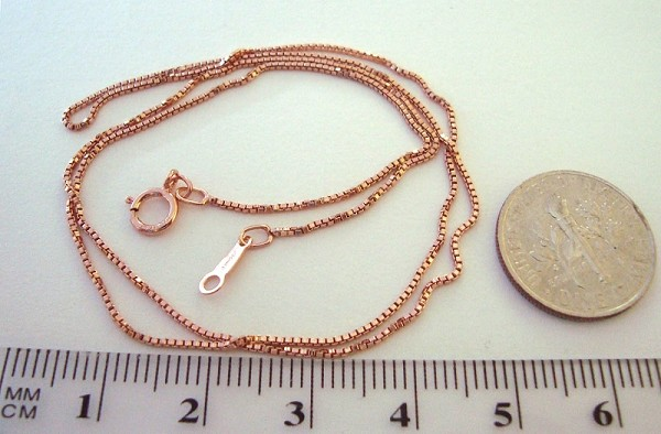 ".85mm 18"" 14k Rose Gold Filled delicate box chain necklace"